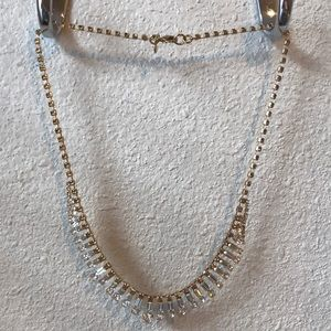 J. Crew yellow gold and glass rhinestone necklace.